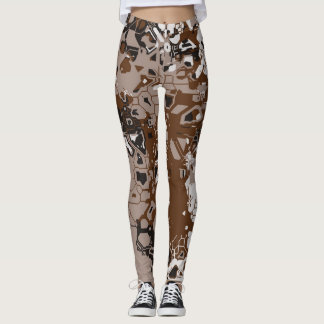 Brown White and black abstract Leggings