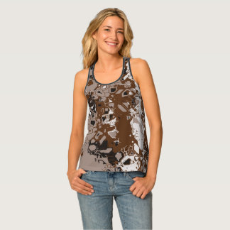 Brown white and black abstract tank top