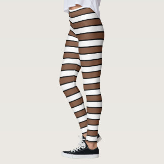 Brown, White and Black Stripes Leggings