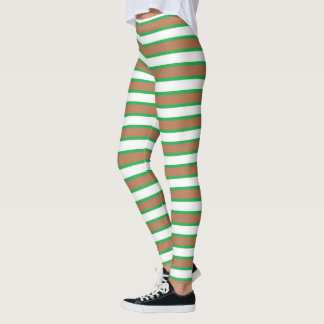 Brown, White and Green Stripes Leggings