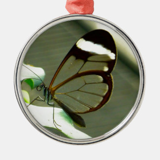 Brown White and Translucent Winged Butterfly Silver-Colored Round Decoration