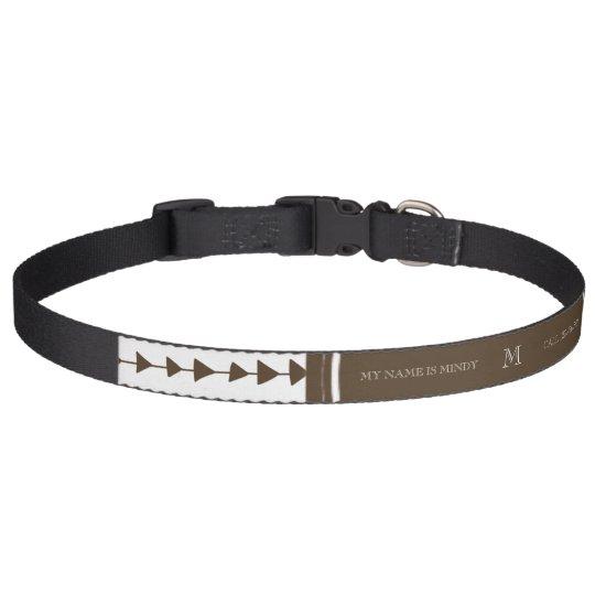 Brown White Aztec Arrows Monogram Pet Collar
