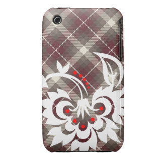 Brown white country flower design iPhone case