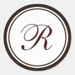 Brown & White Envelope Seal Classic Round Sticker