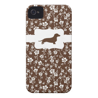 Brown&White Floral w/Dachshund iPhone 4 Cover
