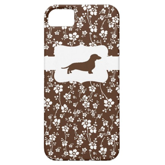 Brown&White Floral w/Dachshund iPhone 5 Cover