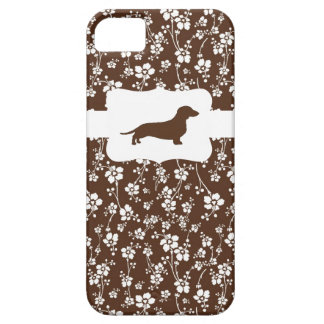 Brown&White Floral w/Dachshund iPhone 5 Covers