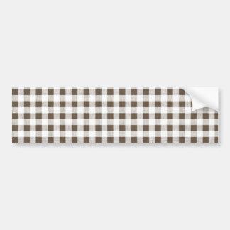 Brown White Gingham Pattern Bumper Sticker