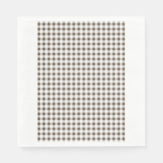 Brown White Gingham Pattern Paper Napkins