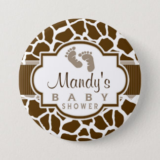 Brown, White Giraffe Animal Print Baby Shower 7.5 Cm Round Badge