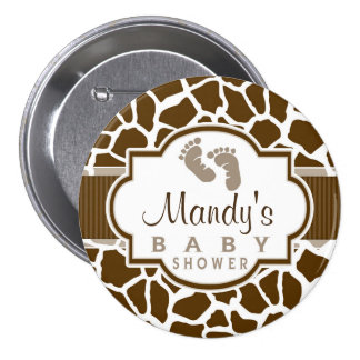 Brown, White Giraffe Animal Print Baby Shower Pinback Button
