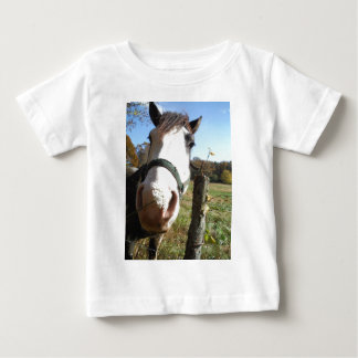 Brown & White horse w/ wildflower Baby T-Shirt