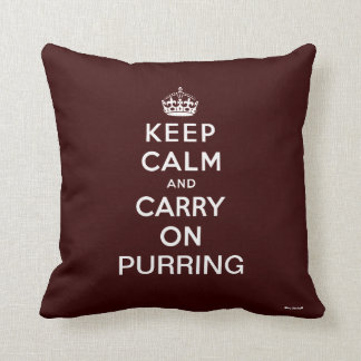 Brown White Keep Calm and Carry On Purring Cushions