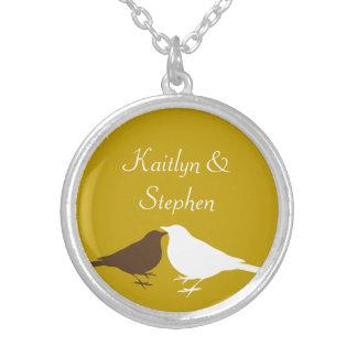 Brown white love birds pair keepsake chain jewelry