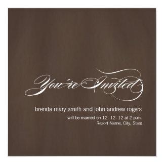"""Brown White Modern Wedding Invitation 5.25"""" Square Invitation Card"""