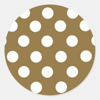 Brown White Polka Dots Stickers
