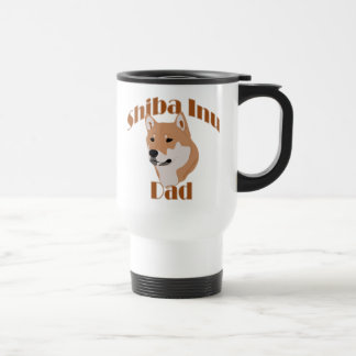 brown white Shiba Inu Dad Travel Mug