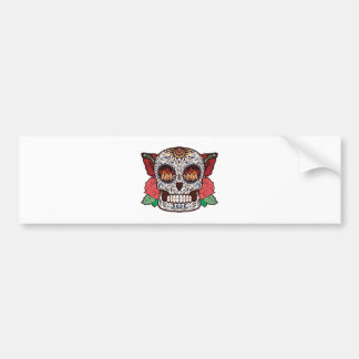 Brown White Tattoo Sugar Skull Pink Roses Car Bumper Sticker