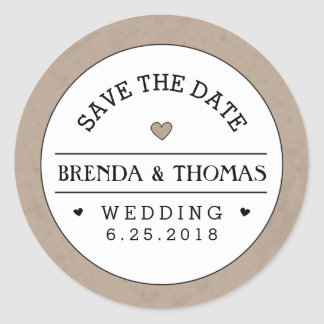 Brown & White Wedding Save the Date Round Label