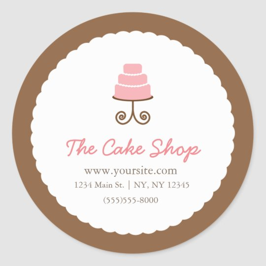 Brown & White with Pink Cake Bakery Sticker