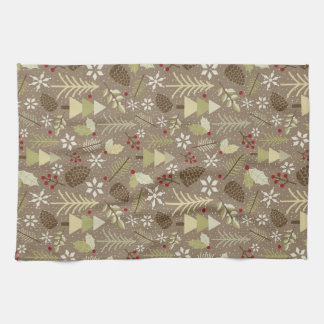 Brown Winter - Holiday Illustrated Pattern Tea Towel