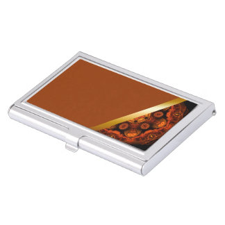 brown with orange kaleidoscope business card case