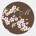 Brown with Pink Cherry Blossom Envelope Seals Round Sticker