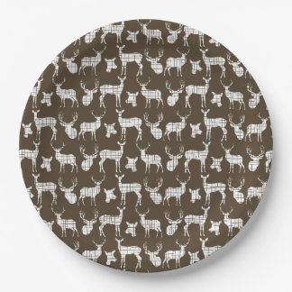 Brown With White Deer Paper Plates