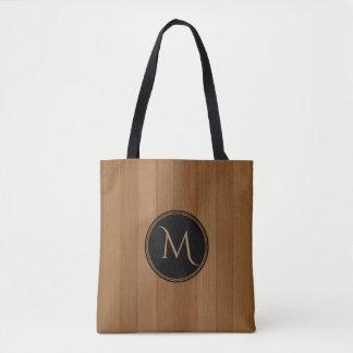Brown Wood Boards Print With Monogram Tote Bag