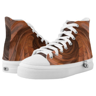 Brown Wood Design High Top Shoes Printed Shoes