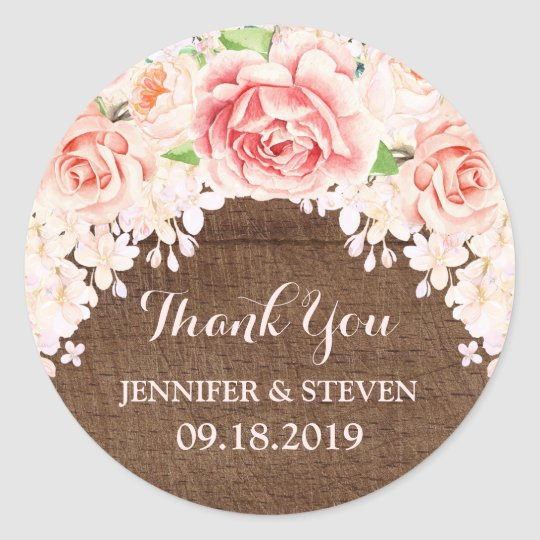 Brown Wood Pink Watercolor Flowers Wedding Label