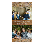 Brown Wood Rustic Country Two Photo Holiday Cards Photo Card Template