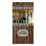 Brown Wood Silver Country Photo Christmas Card Photo Cards