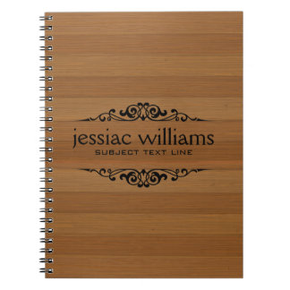 Brown Wood Stripes Decorative Black Frame Notebook