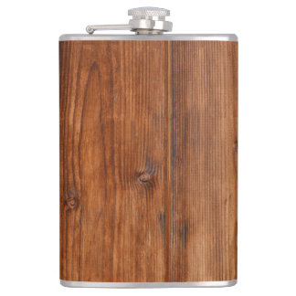 Brown Wood Wall Texture Structure Hip Flask
