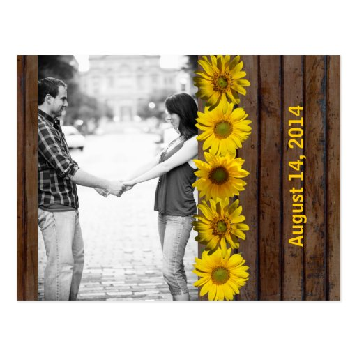 Brown Wood Yellow Sunflower Photo Save the Date Post Card