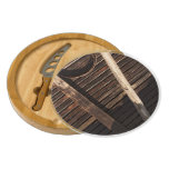 Brown Wooden Planks Barn Wall - rural photography Round Cheese Board