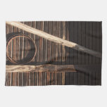 Brown Wooden Planks Barn Wall - rural photography Kitchen Towels