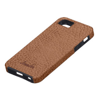 Brown Worn-Out Natural Leather Look Tough iPhone 5 Case