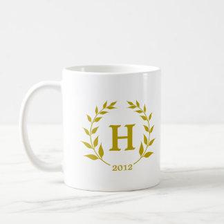 Brown wreath monogram graduation class year basic white mug