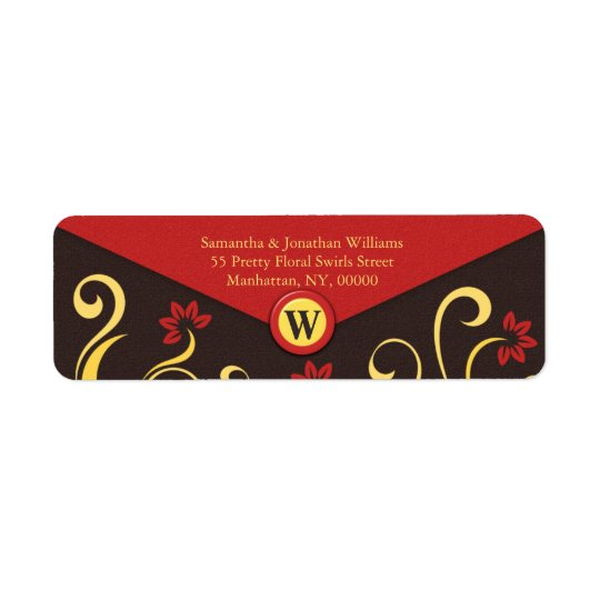 Brown Yellow Floral Swirls Return Address Labels