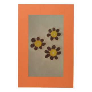 Brown/yellow flower wood wall decor