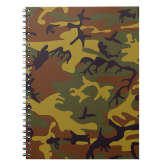 Brown yellow green camouflage design note book
