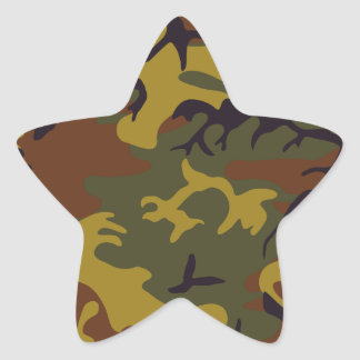 Brown yellow green camouflage design star sticker
