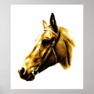Brown Yellow Horse Drawing Artwork Poster