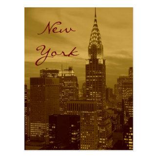 Brown Yellow Pop Art New York Script Postcard