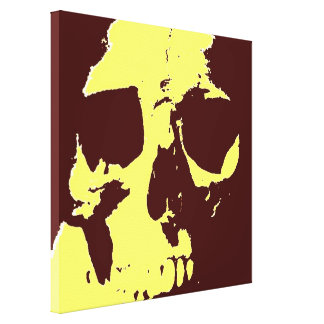 Brown Yellow Pop Art Skull Wrapped Canvas