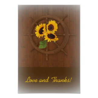 Brown yellow rustic sunflowers wedding thank you 9 cm x 13 cm invitation card