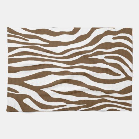 Zebra Tea Towels: Brown Zebra Animal Print Tea Towel