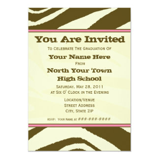 Brown Zebra Print 2011 Graduation Invitation
